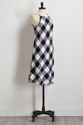 gingham linen shift dress