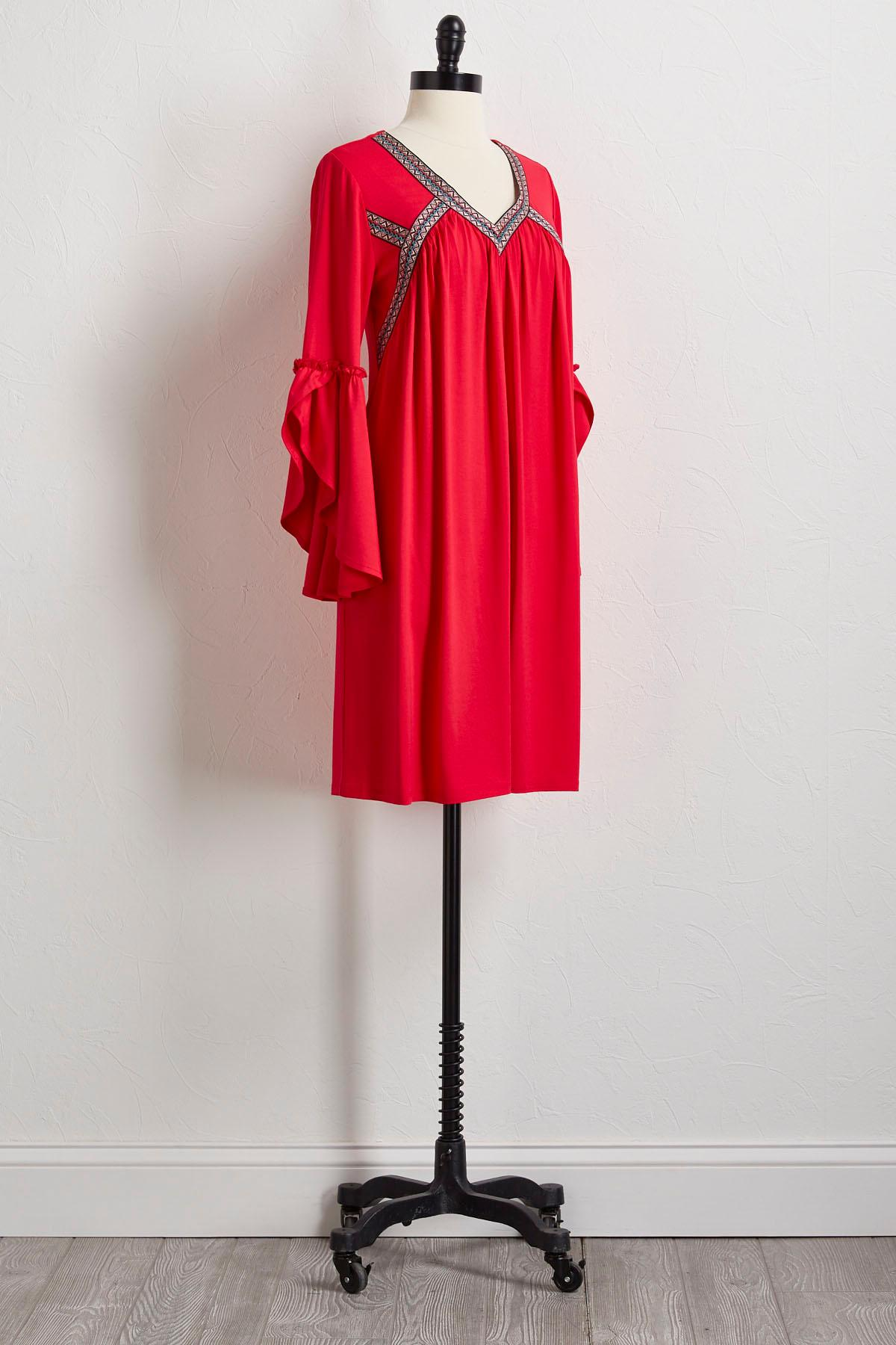 Embroidered Tulip Sleeve Shift Dress