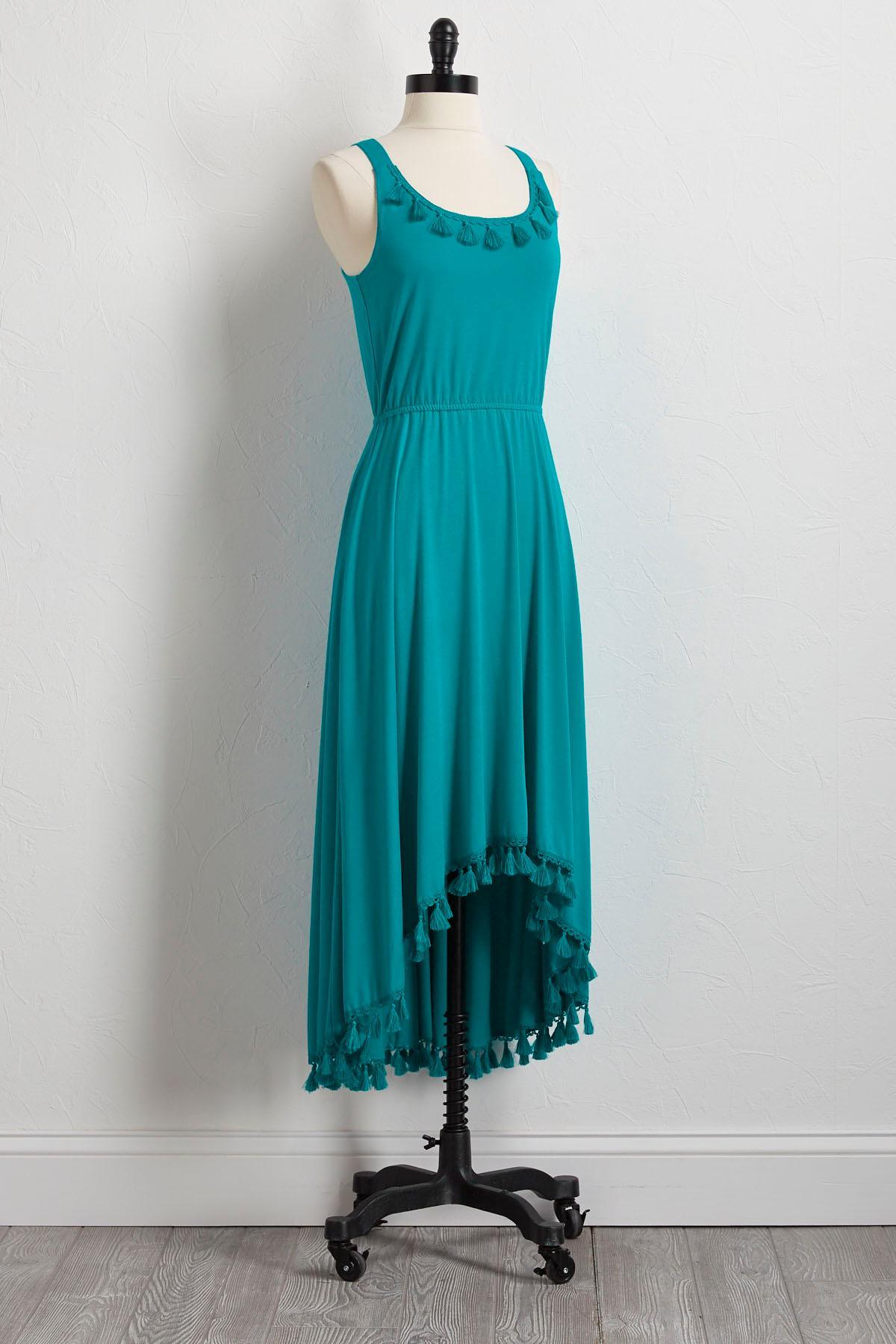 Tassel Trim High- Low Dress