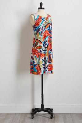 tropical leaf shift dress