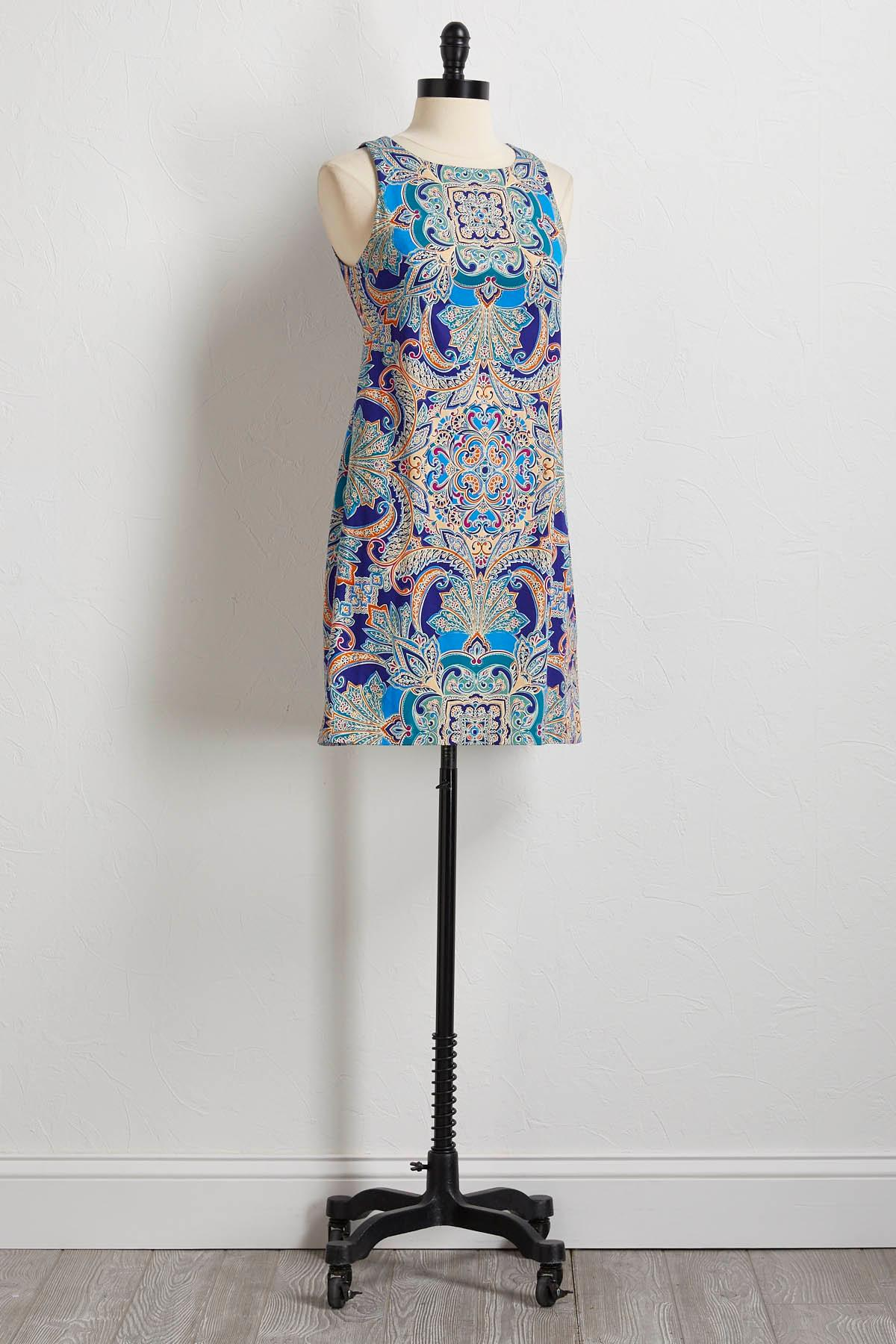 Mirror Paisley Shift Dress