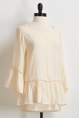 flounced solid gauze top
