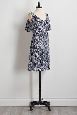 polka dot bare shoulder shift dress