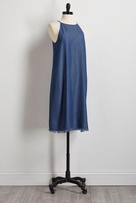 frayed chambray shift dress