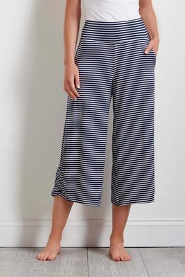 cropped navy stripe pants