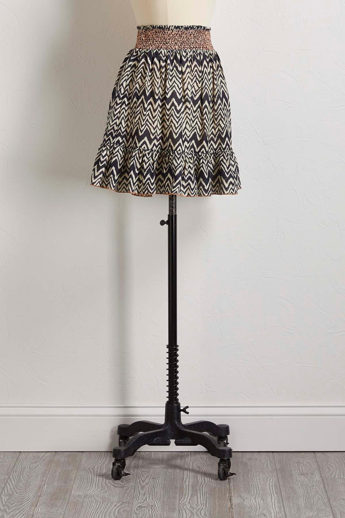 Smocked Chevron Mini Skirt
