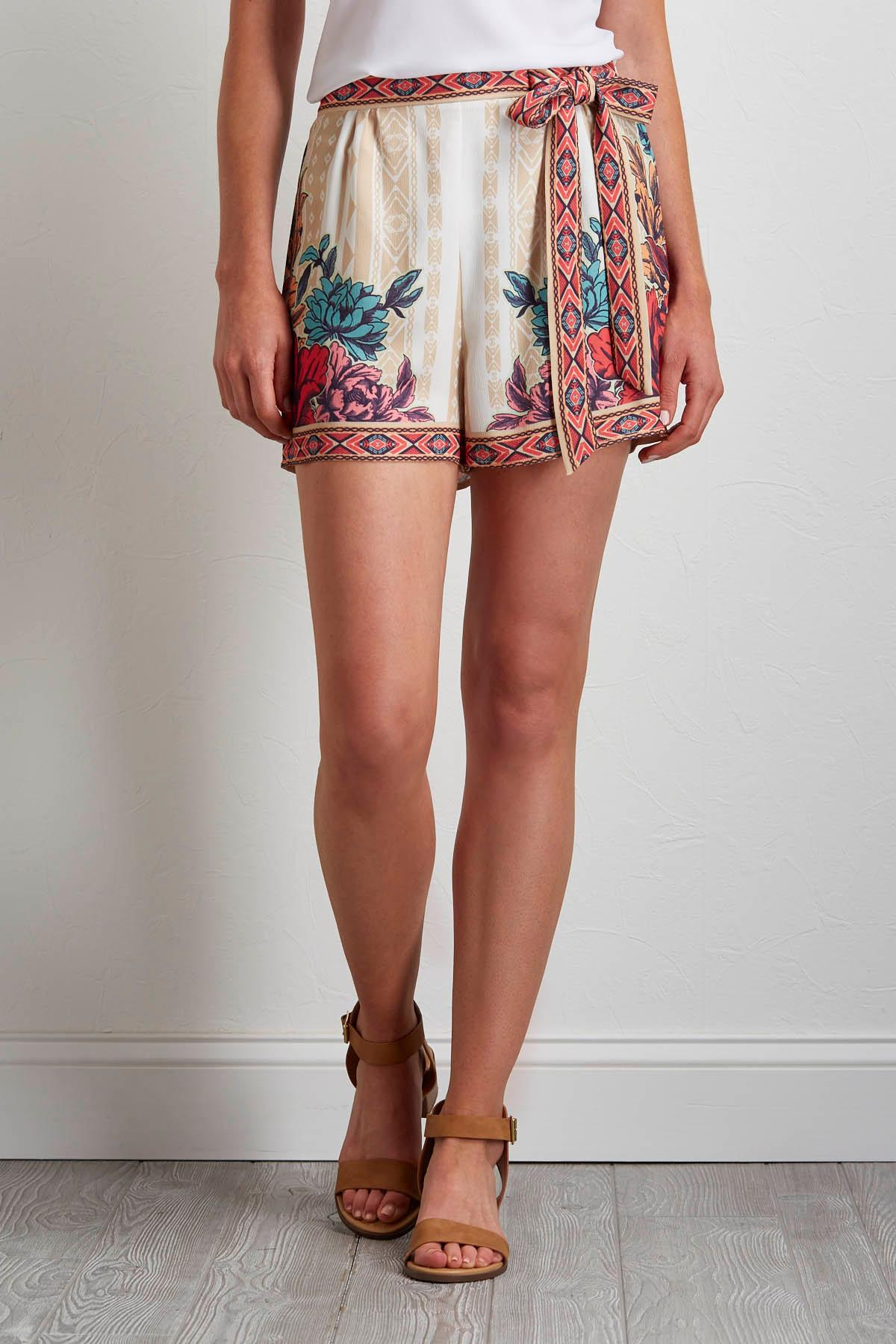 Tropical Tie Waist Shorts