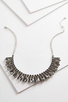 rhinestone marquis bib necklace