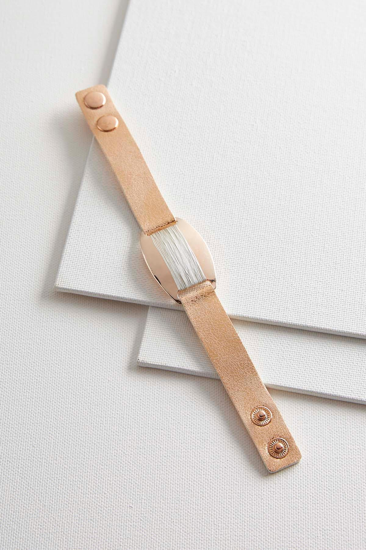 Wire Wrapped Faux Leather Bracelet