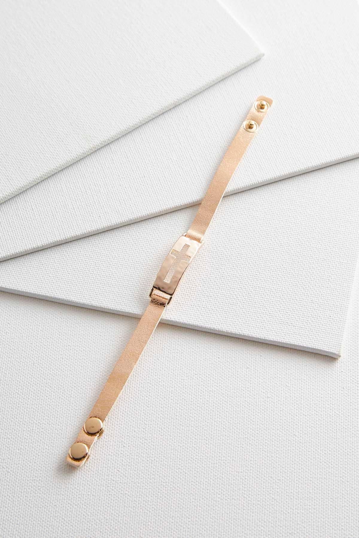 Cross Bar Faux Leather Bracelet