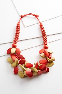 Two-Toned Wooden Bead Necklace
