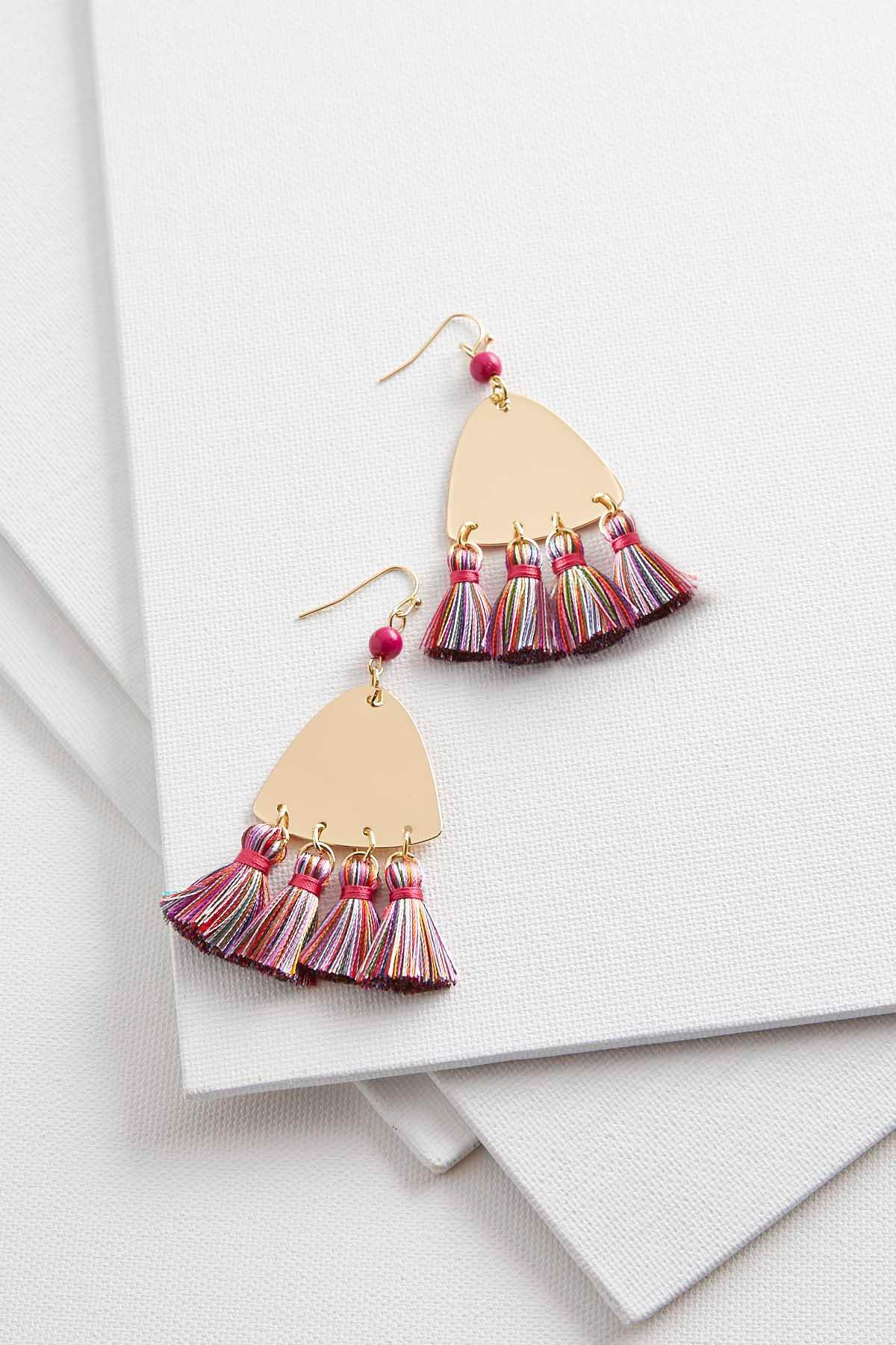 Tasseled Metal Triangle Earrings