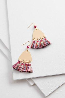 tasseled metal triangle earrings