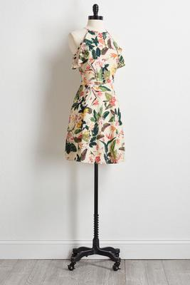 crepe garden floral ruffle dress