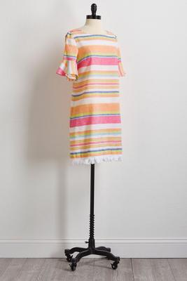 stripe linen shift dress