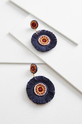 beaded circle fringe earrings