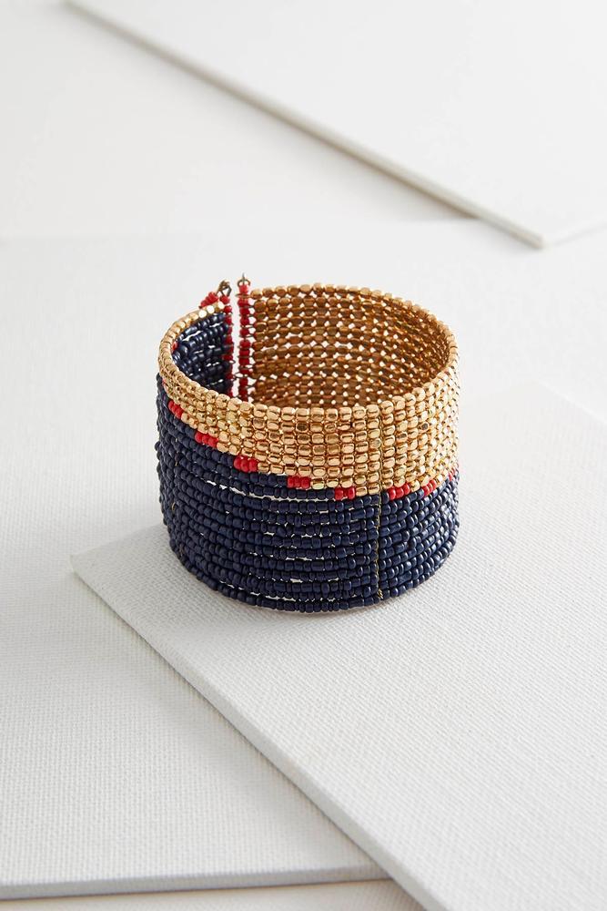Colorblock Beaded Cuff Bracelet