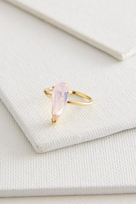 tear shaped faceted glass ring