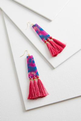 geo resin tassel earrings s