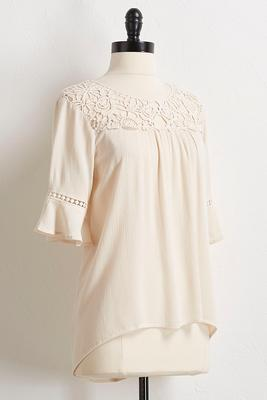 solid crochet bell sleeve top