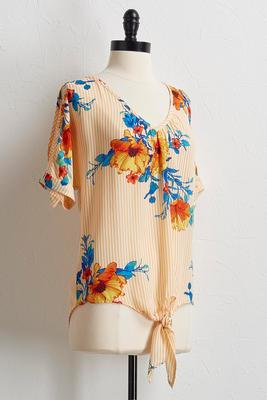 striped tropical floral top