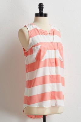 herringbone striped button down tank