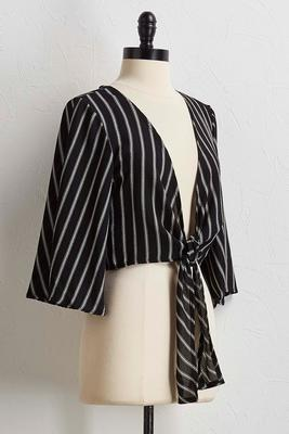 stripe tie front shrug