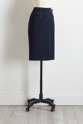 cross tie pencil skirt