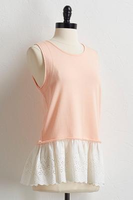 french terry layered eyelet tank