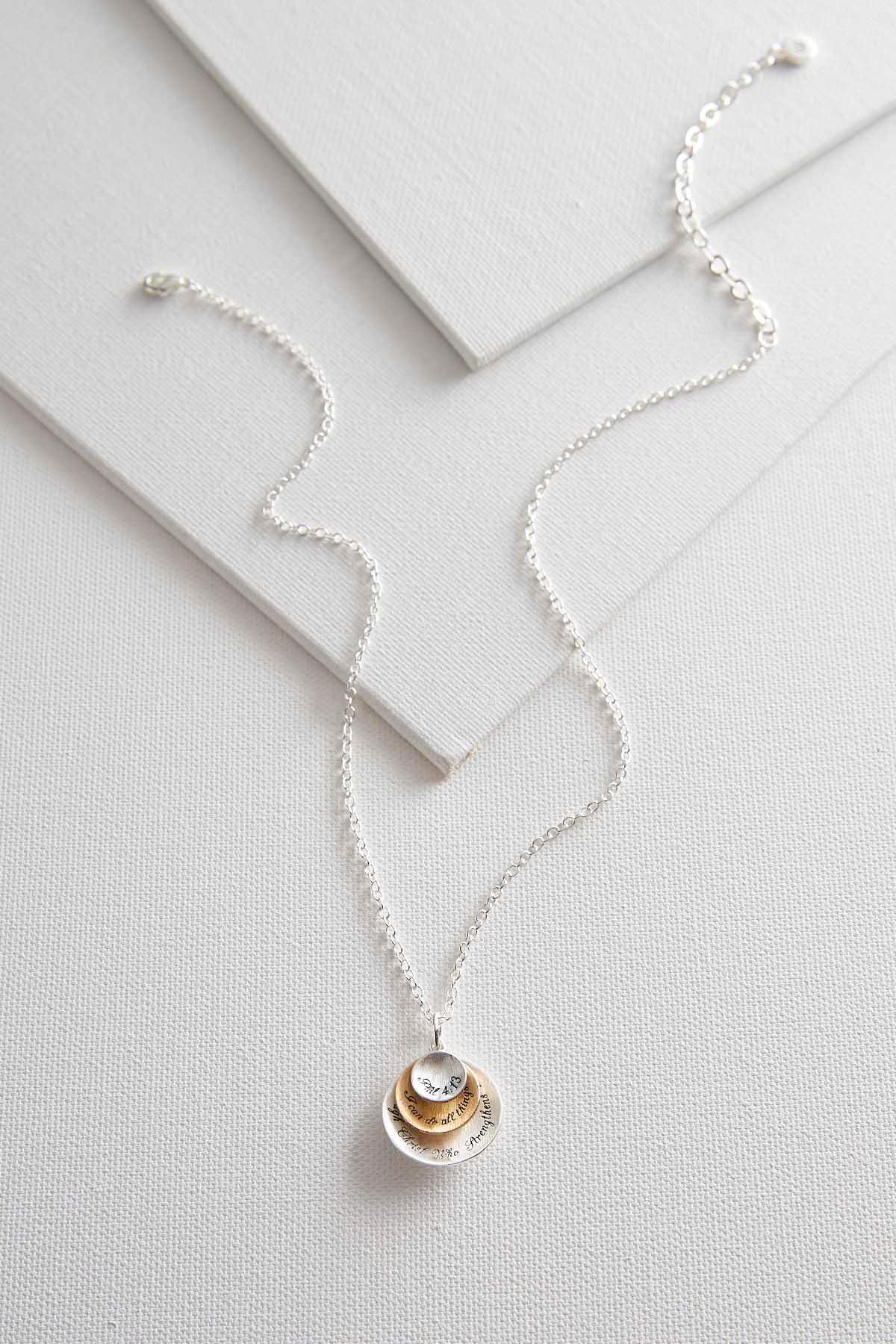 Versona two toned inspirational pendant necklace two toned inspirational pendant necklace item 43456318 aloadofball Choice Image