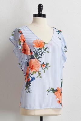 stripe floral flutter sleeve top