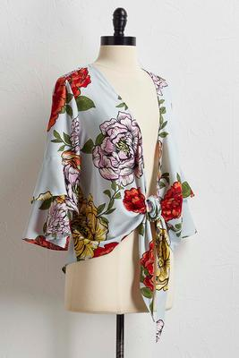 large blossom tie front top