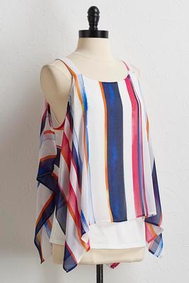 multi stripe bare shoulder top