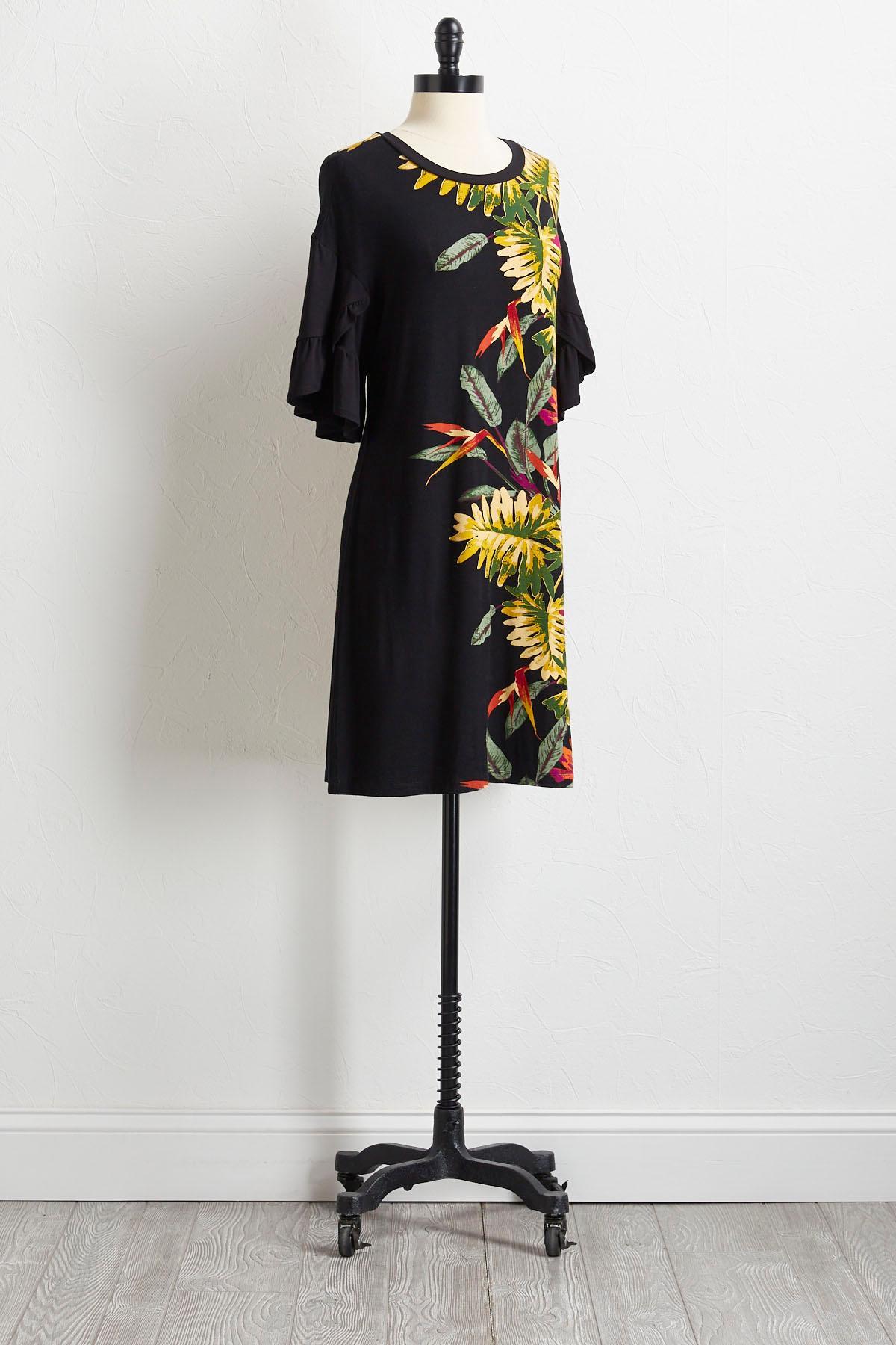 Palm Ruffled Sleeve Shift Dress