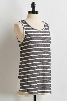 striped button back tank