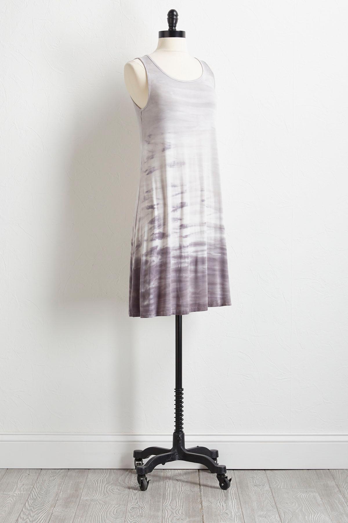 Gray Tie Dye T- Shirt Dress