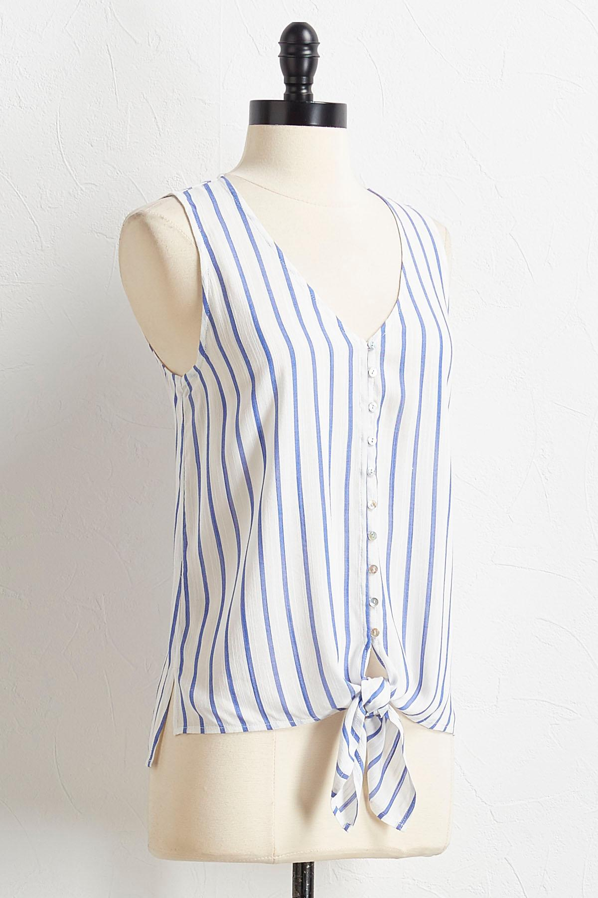 Tie Waist Button Down Tank