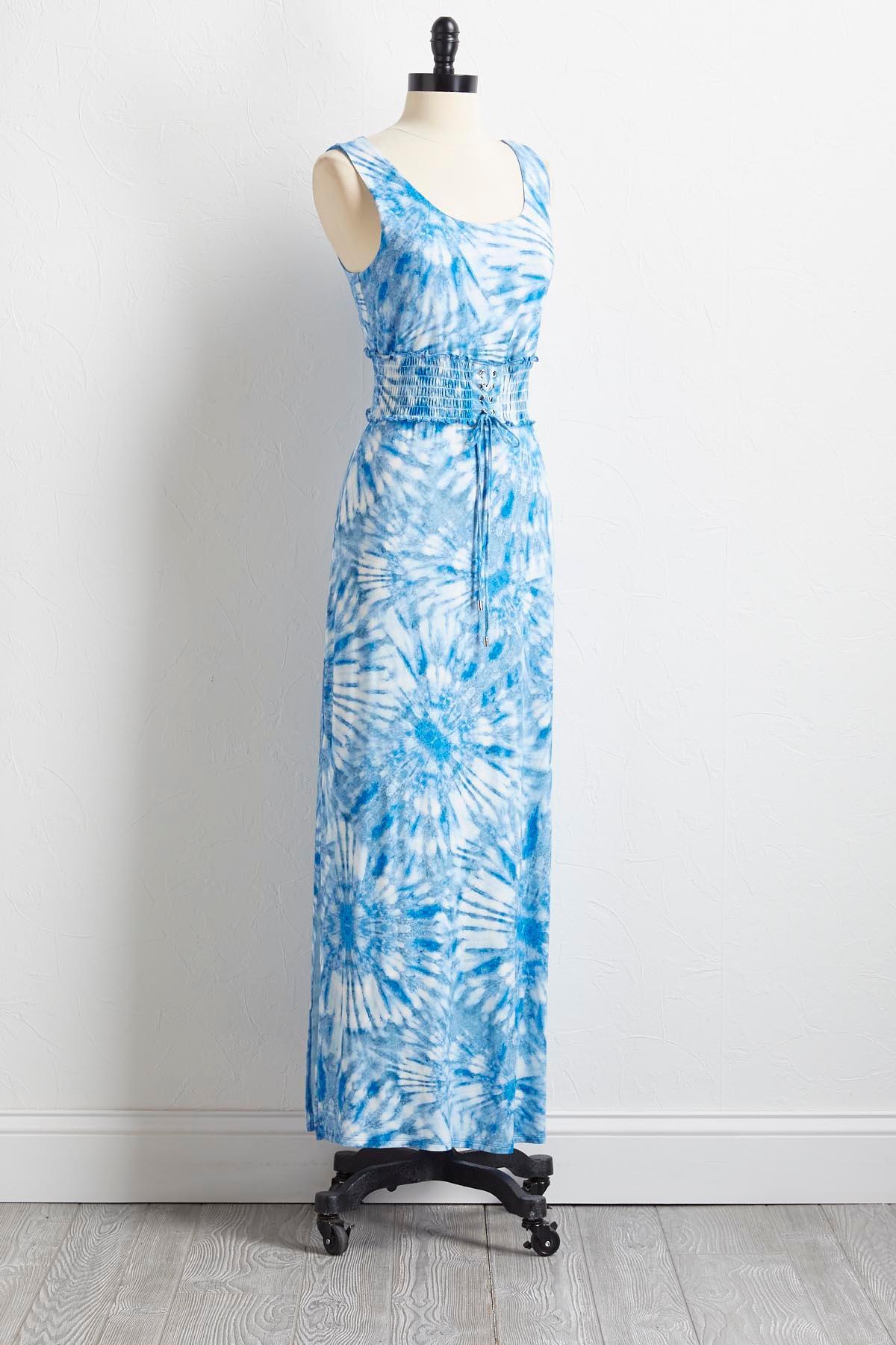 Tie Dye Smocked Waist Maxi Dress