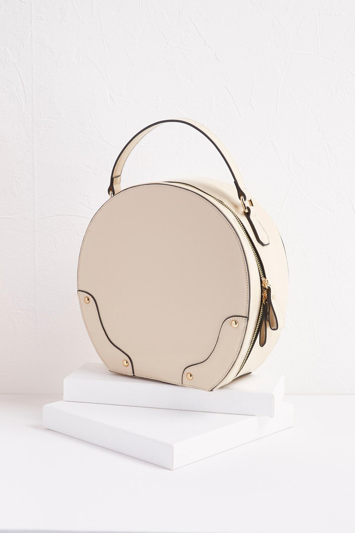 Faux Patent Leather Hat Box Bag