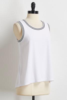 stripe trim athleisure top