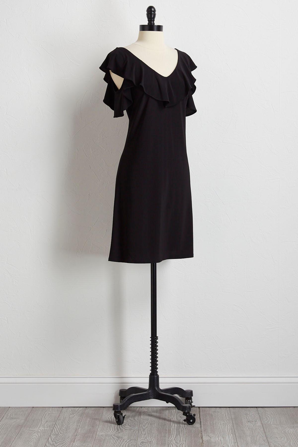 Ruffled Bare Shoulder Shift Dress