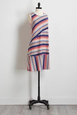 mixed stripe t-shirt dress