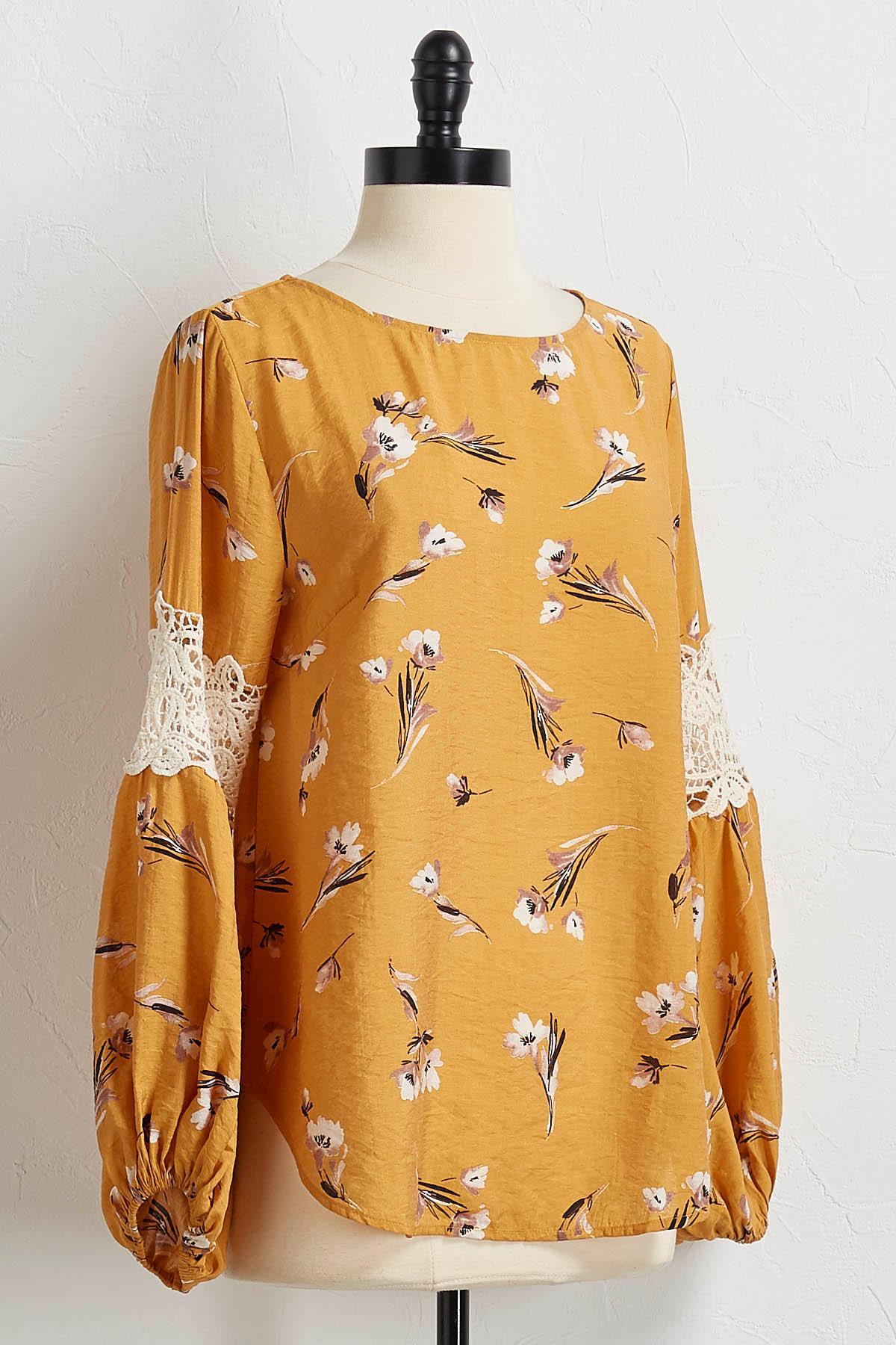 Golden Floral Crochet Trim Top