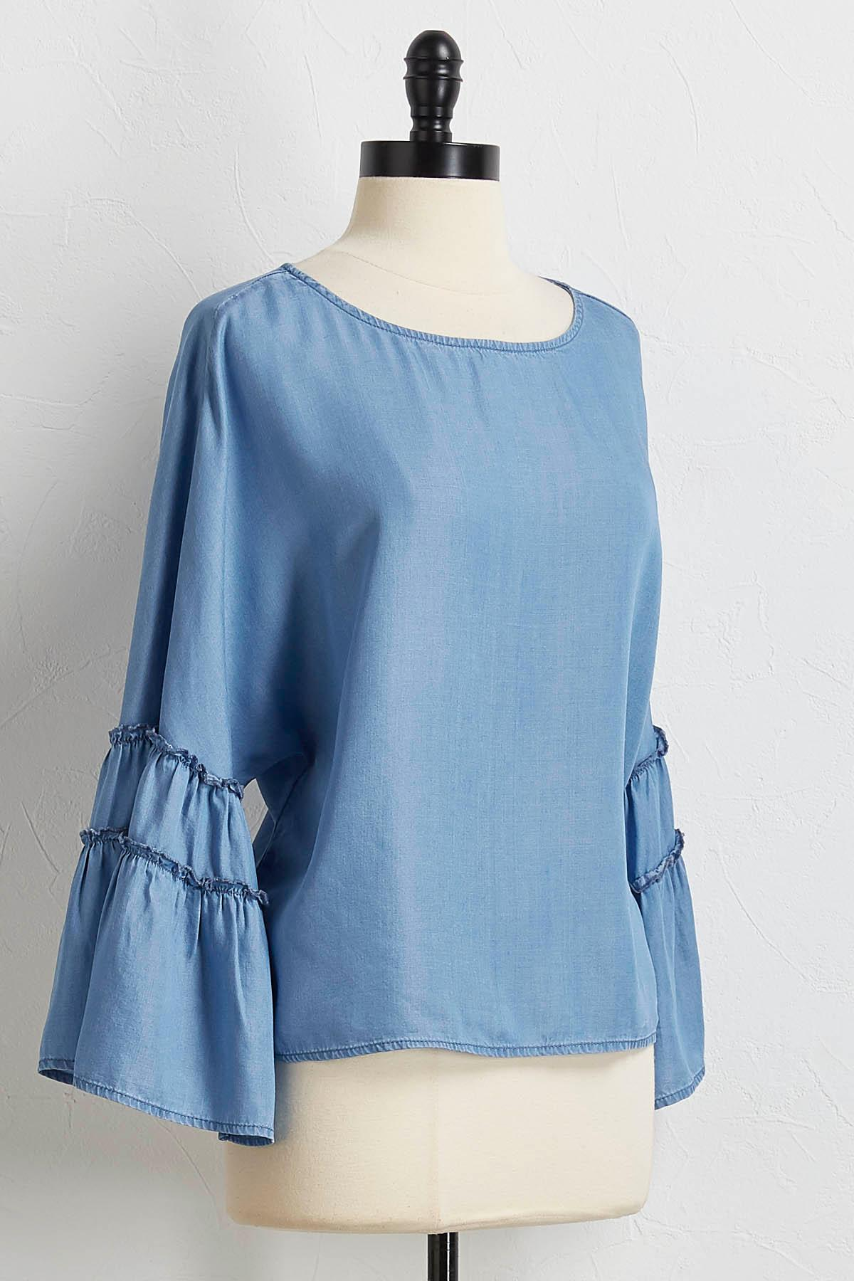 Bell Sleeve Chambray Top