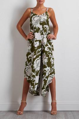 olive floral genie jumpsuit