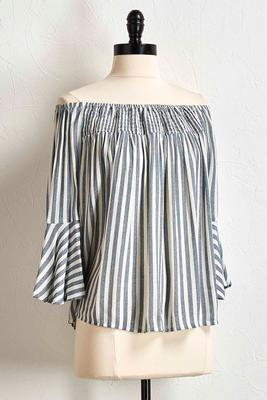 blue striped off the shoulder top s
