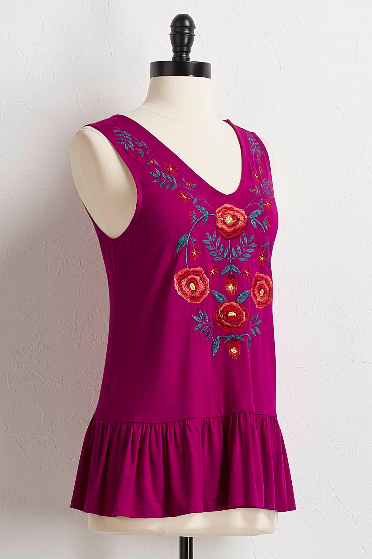 Embroidered Flounced Trim Tank