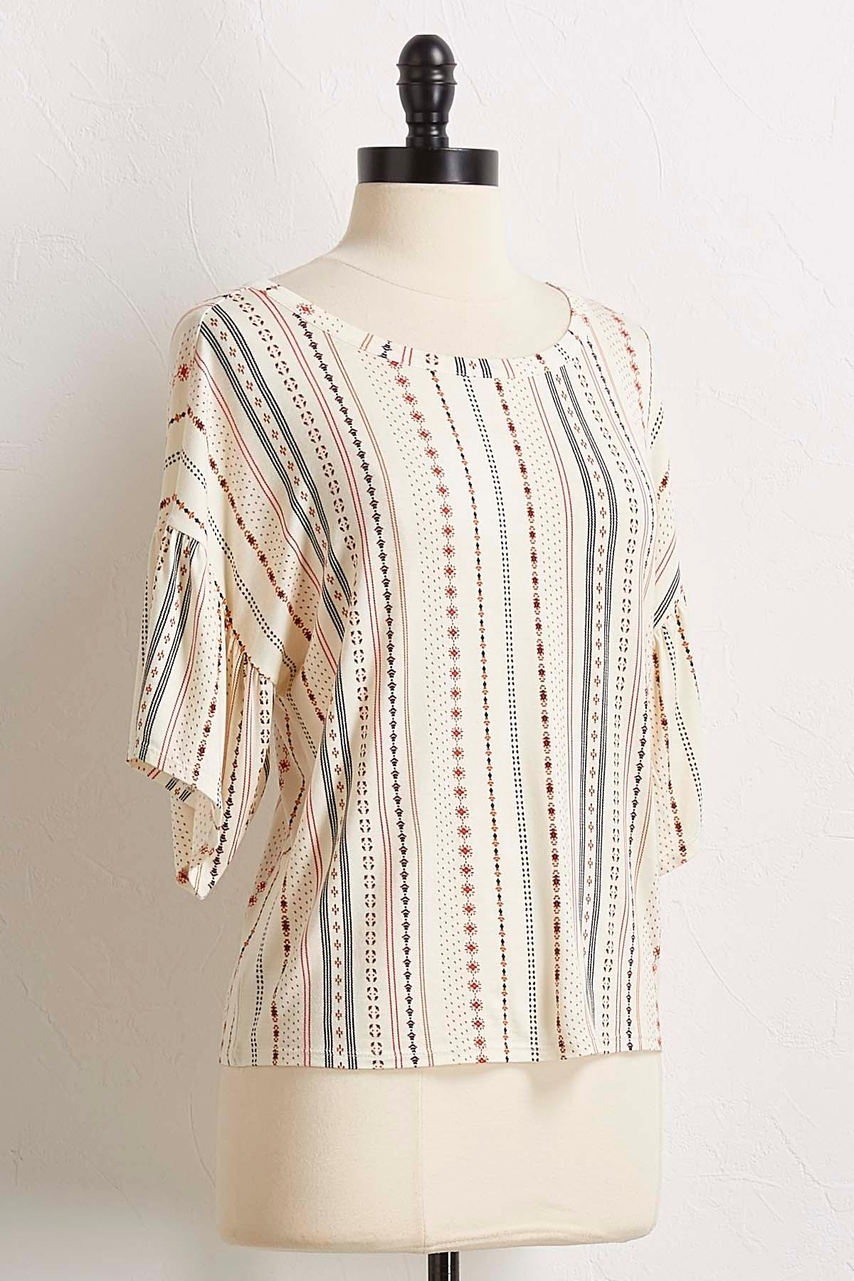 Mixed Dotted Flutter Sleeve Top