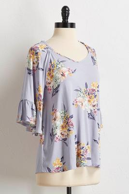 floral bouquet flutter sleeve top