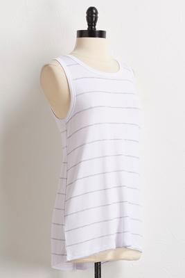 stripe ribbon tie back tank
